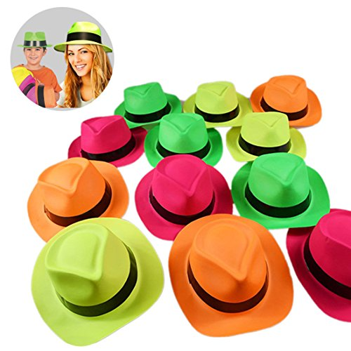 Novelty Place [Party Stars] Neon Color Gangster Fedora Plastic Party Hats for Kids Teens and Adult (Pack of (Neon Fedora Hats)