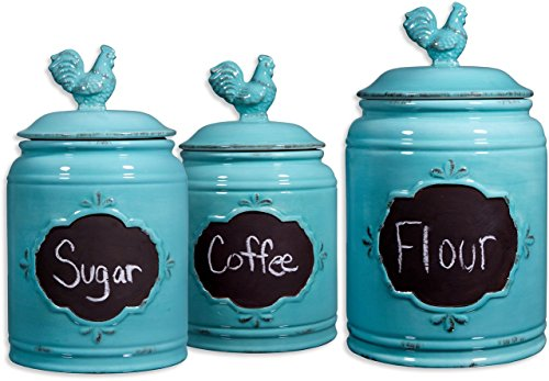 Set of 3 Aqua Ceramic Round Chalkboard Rooster Canister Jars with Tight Lids for Kitchen or Bathroom, Food Storage Containers, White Chalk Included