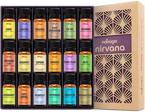 Natrogix Nirvana Essential Oils - Top 18 Essential Oil Set 100% Pure Therapeutic Grade 18/10ml Incl. Lavender, Moroccan Rosemary, Tea Tree, Eucalyptus, Lemongrass and 13 More w/Free E-Book