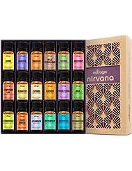Natrogix Nirvana Essential Oils - Top 18 Essential Oil Set 100% Pure Therapeutic Grade 18/10ml Incl. Lavender, Moroccan Rosemary, Tea Tree, Eucalyptus, Lemongrass and 13 More w/Free E-Book
