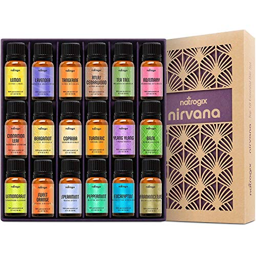 Natrogix Nirvana Essential Oils - Top 18 Essential Oil Set 100% Pure Therapeutic Grade 18/10ml Incl. Lavender, Moroccan Rosemary, Tea Tree, Eucalyptus, Lemongrass and 13 More w/Free - Hearts Sampler Happy