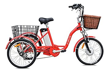 Triciclo eléctrico Jorvik de 24 pulgadas, para adultos, de aluminio, 250 W o 36 V, rojo: Amazon.es: Deportes y aire libre