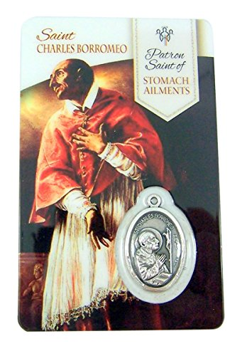 Saint Charles Borromeo Medals - Silver Toned Saint Charles Borromeo Patron of Stomach Ailments Medal with Holy Card, 1 Inch