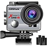 Campark ACT74 Action Camera 4K 30fps WiFi Ultra HD Waterproof Sports Action Cam,Free Mounting Accessories and 2 Rechargeable Batteries for Bikes Motorbike Snorkeling(Silver)
