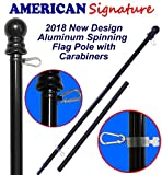 American Signature Flag Pole 6 ft - Heavy Duty Aluminum Tangle Free Spinning Flagpole with Carabiners - 2018 New Enhanced Design Outdoor Wall Mount Flagpole for Residential or Commercial. (6', Black)