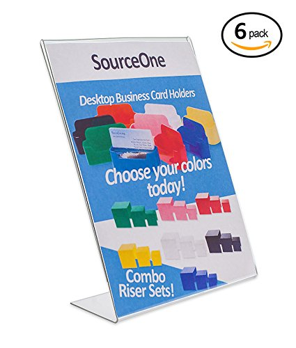 Source One 8.5 x 11 Inches Slant Back Clear Styrene Economy Sign Holder Ad Frames, 6-Pack (8511csh-6)