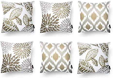 Modern Homes Brown 100 Cotton Decorative Floral Throw Pillow Covers Cushion Covers 40x40 Cm For Sofa Bed Set Of 6 Coffee 16x16 Amazon Ca Home Kitchen