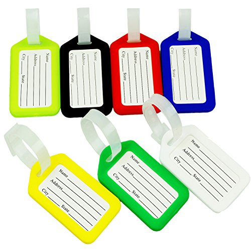 Pocket Luggage Tag (BlueCosto 7x Colors Luggage Tags Suitcase Labels Travel)