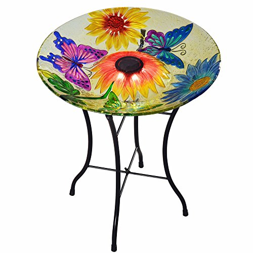 Peaktop - Outdoor 18-Inch Butterfly Fusion Glass Solar Bird Bath w/Stand