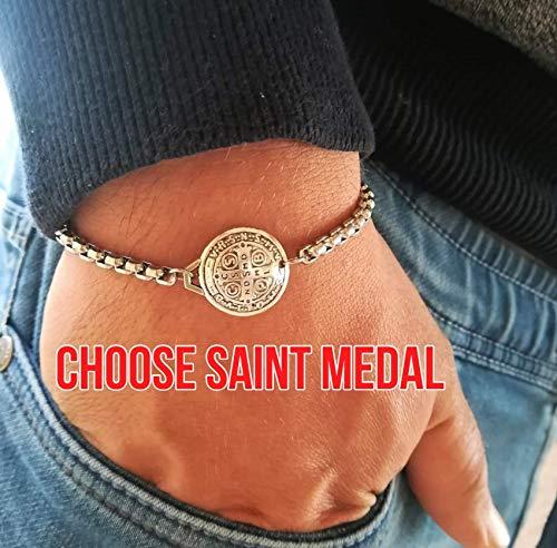 - Religious Charm Chain Bracelets - Catholic Saint Medals For Men Women Kids Christian Jewelry Gift Medjugorje Handmade