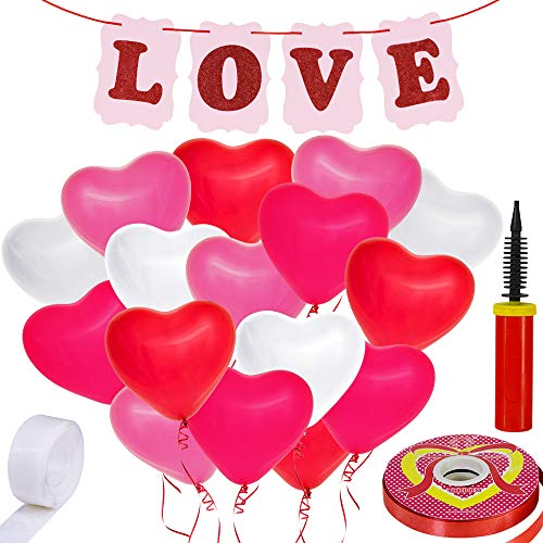 Supla Valentine's Day Party Decorations Set - 42 Heart Shaped Balloons Latex Balloons 1 LOVE Letters Banner Sign Red Curling Balloon Ribbon Red Satin Ribbon with Hand Inflator Pump Double Sided Glue Dots for Party Photo Booth Backdrop