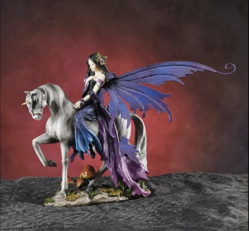 (Gorgeous Fairy Collection Fairy Riding Unicorn Figurine Statue Shelf Desk Decoration)