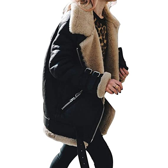 24c4df243a8 Hibote Women Winter Warm Thick Faux Fur Coat Fluffy Fur Collar Solid Color  Casual Overcoat Loose