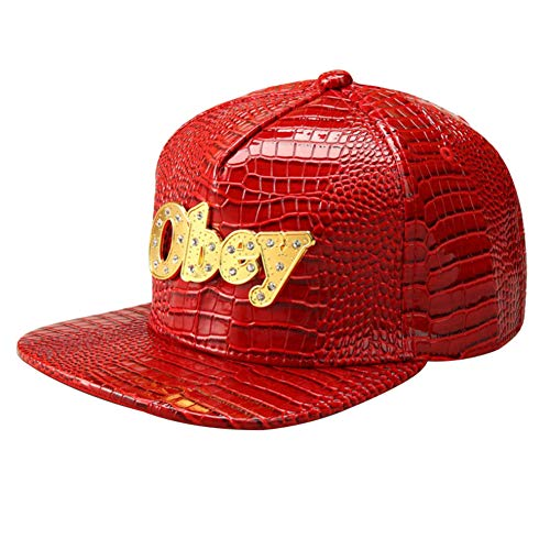 CRN Men's Fashion Hip Hop Crocodile PU Leather Obey Alloy Adjustable Hat Plain Baseball Cap with Rhinestones Red