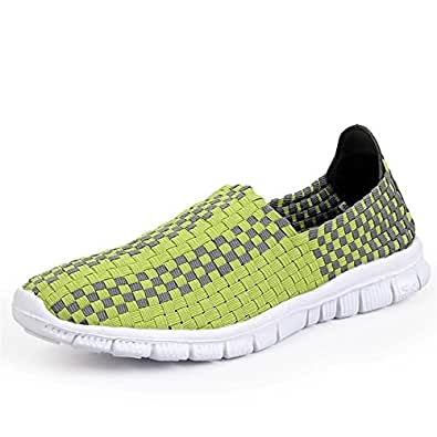 Xujw-shoes, 2018 New Men's Fashion Athletic Shoes Strip Pattern Slip On Splice Vamp Leisure Sneaker (Color : Green, Size : 4 UK)
