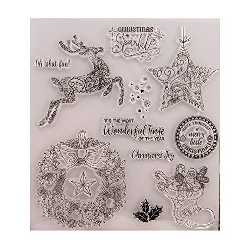 Kalttoy DIY Silicone Trasparente Timbro Foglia Scrapbooking Album Foto Fai da Te Natale San Valentino Thanksgiving Regali