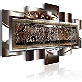 Giant Contemporary Canvas Wall Art Brown Merger Prints 5 Panels Modern Mirror Painting Extra Huge Home Decoration for Living Room Office Framed Picture (40x80, ELF04)