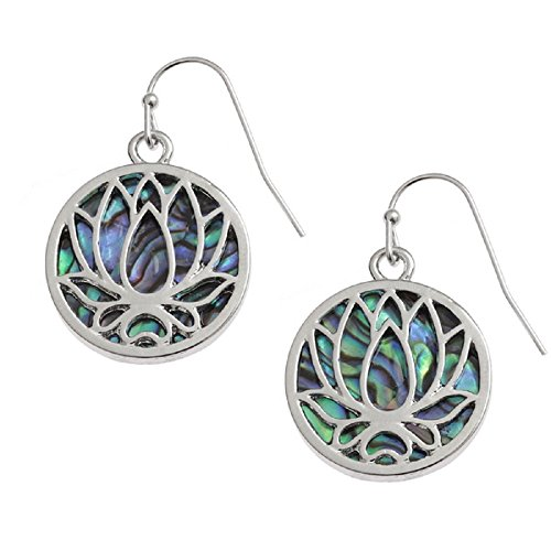 BellaMira Abalone Natural Paua Shell Silver Earrings Jewellery for Women Girls Gift Boxed (Lotus Water Lily Abalone) by BellaMira