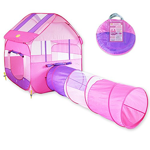 pink-children-playhouse-with-tunnel-for-indoor-outdoor-with-stakes-easy-popup-play-tent-design