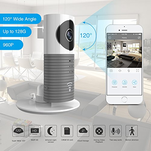 ation 960P 120°Wide Angle Lens Wireless security wifi camera Support Max 128GB SD card / Support Cloud Stotage(with adaptor)(Grey) (Max Wide Sd Card)