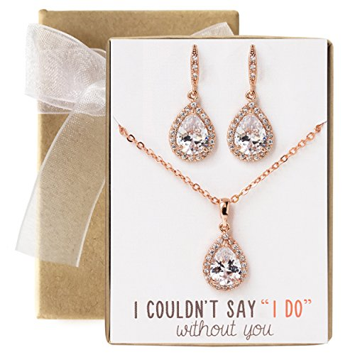 AMY O Wedding Bridesmaids Gift Drop Earrings or Jewelry Set in Silver, Yellow Gold, Rose Gold