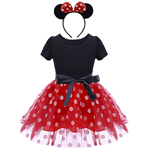 Baby Girls Polka Dots Tulle Spliced Ballet Dress with Bowknot Headband Birthday Party Princess Tutu Dress Red 3-4 -