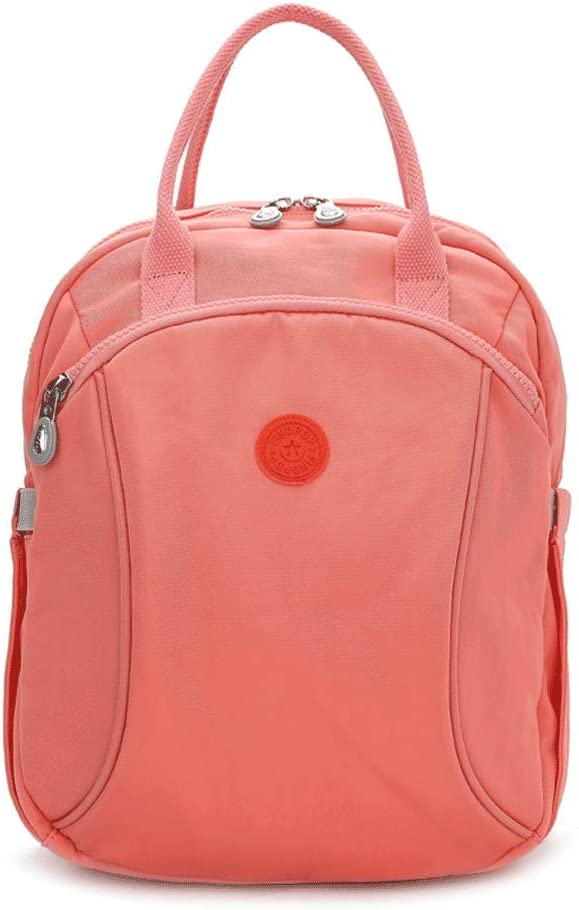 Color : Pink SLH Backpack Female Wild Simple Solid Color Travel Bag