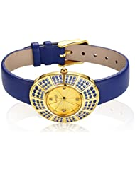 Langii Yellow Gold Plating Wrist Watch for Women Luxury Sapphire Blue Color Leather Yg1706sabl