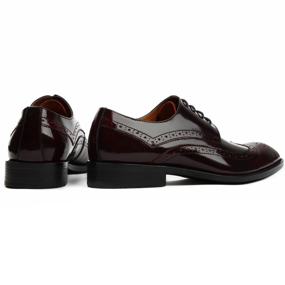 Herren Herbst Winter Brogue Formelle Vintage Arbeit Spitz Business Formelle Brogue Uniform Schwarz Derby ROT Lace-up Echt Leder Schuh Büro Abend Party Im Freien Schuhe Für Männer ROT 91b649