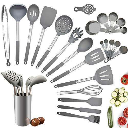 Küchenhelfer Set, 25 teilige Küchenutensilien Silikon grau, spülmaschinenfeste & antihafte Küchengeräte Set Silikon, BPA freie Pfannenwender Set mit Edelstahlgriff inkl. Löffel, Spatel, Messbecher