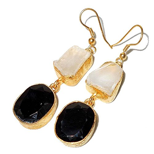 - Sitara Collections SC10313 Gold-Plated Rough Gemstone Earrings, Crystal and Black Onyx