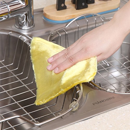 AODEW Kitchen Dish Rags Clean Rags Weave Dish Cloths Hand Towel Washing Rags Towel Wood Fiber Double Thick Dish Cloth by AODEW (Image #4)