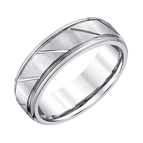AX Jewelry Mens 7mm White Tungsten Wedding Band by AX Jewelry (Image #4)