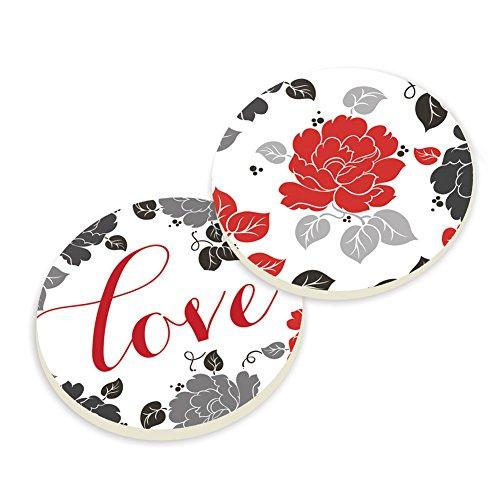 Automotive Beverage Holder Coaster Set of 2 - Love, Red Rose (Roses Coaster Set)