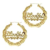 GemGem Jewelry Gold Tone Round Hollow Casting I love You Bamboo Hoop Pincatch Earrings for Women