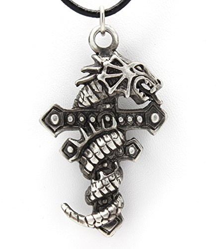 - Pewter Gothic Dragon Wrapped Cross Pendant on Leather Necklace