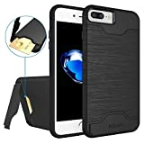 """iPhone 7 Plus Case,Allovit [Kickstand] [Heavy Duty] [Hard PC + Soft TPU] Dual Layer Shock Protective Wallet Case for iPhone 7 Plus 5.5""""(Black)"""