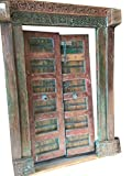 Antique Indian Doors Hand Carved Original Blue Patina Teak Doors 18c