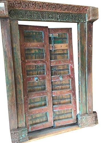 Antique Indian Doors Hand Carved Original Blue Patina Teak Doors 18c by Mogul Interior