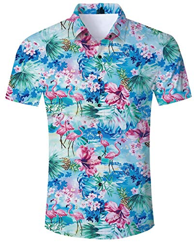 (Flamingo Shirt 3D Floral Hawaiian Island Print 80s 90s 70s Man Cool Novelty Animal Plants Pattern Design Yellow Ananas Retro Vintage Big and Tall Short Sleeves Shirts for Adult Men Girl Beach Holiday)
