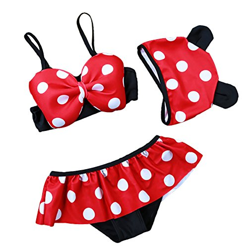 Freefisher Baby Girl's Minnie Mouse Swimsuit 3 Pieces Bathing Costume with Hat