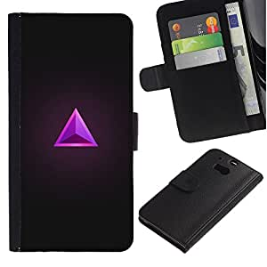 iBinBang / Flip Funda de Cuero Case Cover - Triángulo Rubí Gris púrpura de la joya de Bling - HTC One M8