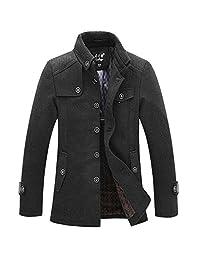 J-SUN-7 Men's Wool Classic Pea Coat Winter Coat