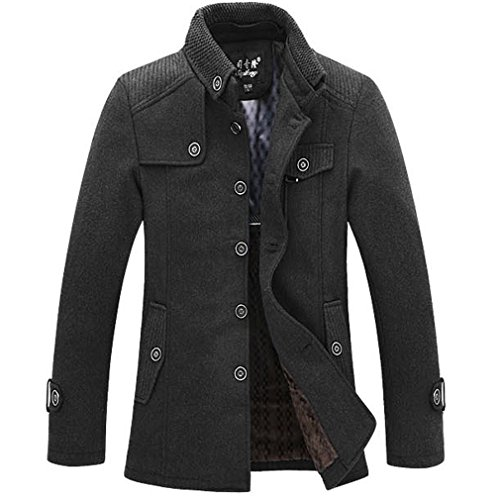 Winter Classic 100 Wool (J-SUN-7 Men's Thicken Wool Classic Pea Coat Single Breasted Slim Fit Winter Jacket (Grey L))