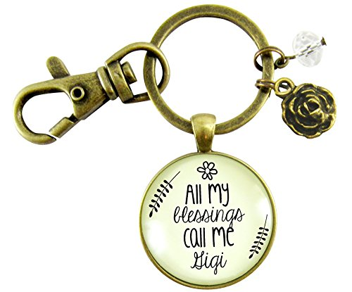 Gigi Keychain All My Blessings Call Me Gigi Grandmother Vintage Style Meaningful Pendant Key Ring ()
