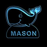 ws1037-0622-b MASON Whale Night Light Nursery Baby Kids Name Day/ Night Sensor LED Sign For Sale