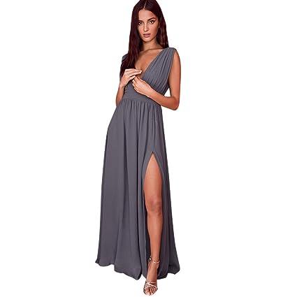 242a86639469 LMMVP Vestidos Mujer Casual,Mujer Formal de Gasa sin Mangas Fiesta de la  Noche de Baile Largo Vestido Maxi (L, C)