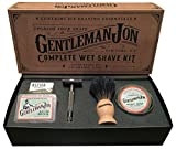 shaving Gentleman Jon Complete Wet Shave Kit | Includes 6 Items: One Safety Razor, One Badger Hair Brush, One Alum Block, One Shave Soap, One Stainless Steel Bowl and Five Razor Blades