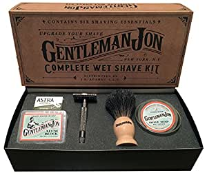 Gentleman Jon Complete Wet Shave Kit   Includes 6 Items:  Safety Razor, Badger Hair Brush, Alum Block, Shave Soap, Stainless Steel Bowl and Astra Razor Blades