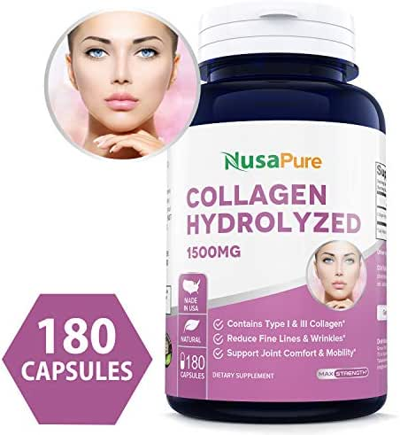 Collagen Hydrolyzed 1500mg 180caps (Non-GMO & Gluten Free) Anti-Aging for Healthy Hair, Skin, Joints & Nails
